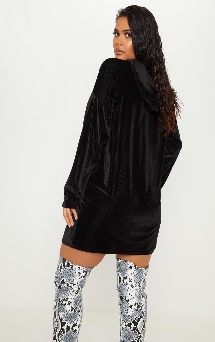 Black Ribbed Velvet Oversized Hoodie Jumper Dress 2