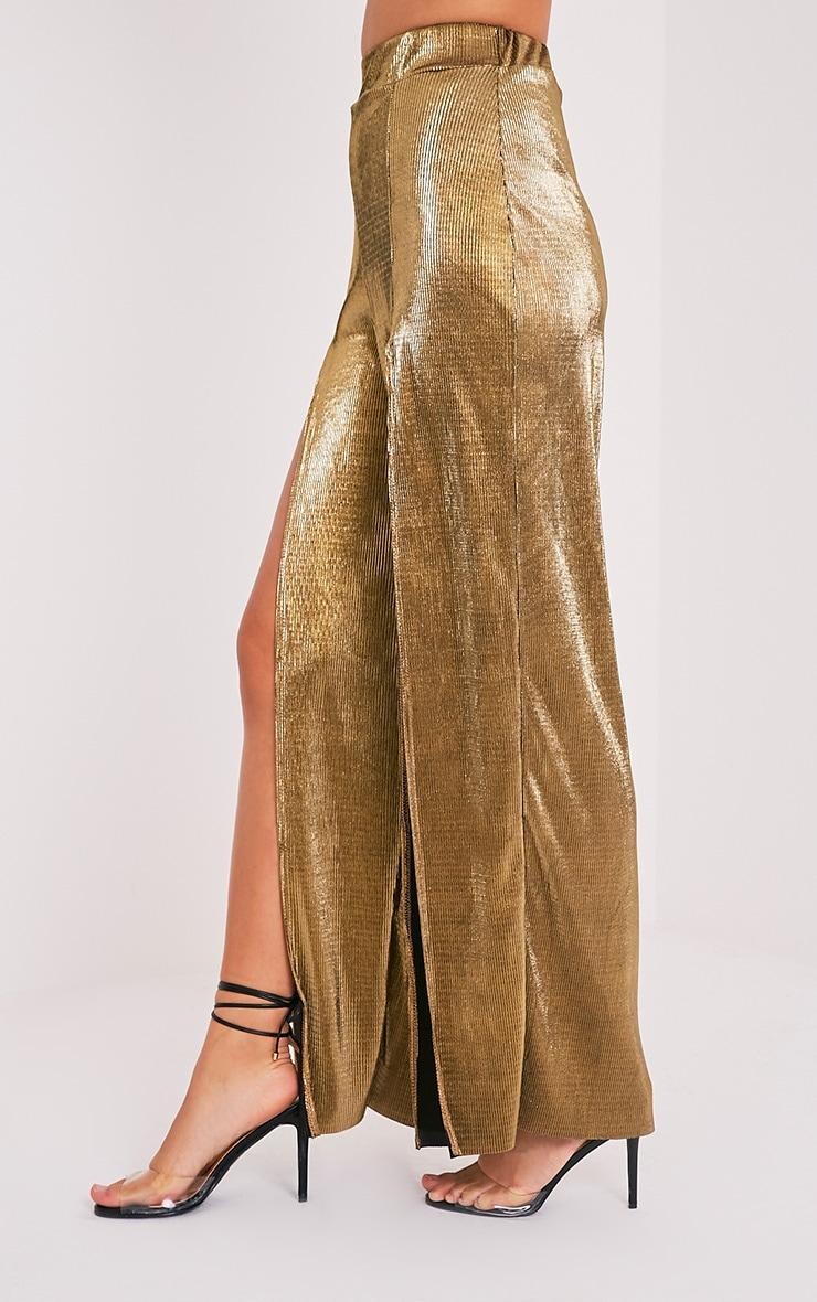 Zayda Gold Metallic Split Front Trousers 4