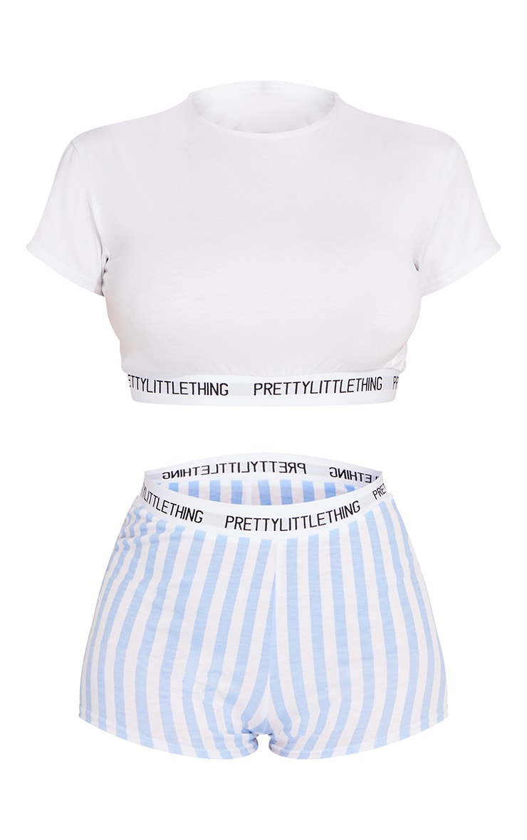 PRETTYLITTLETHING Blue Stripe Short PJ Set 5