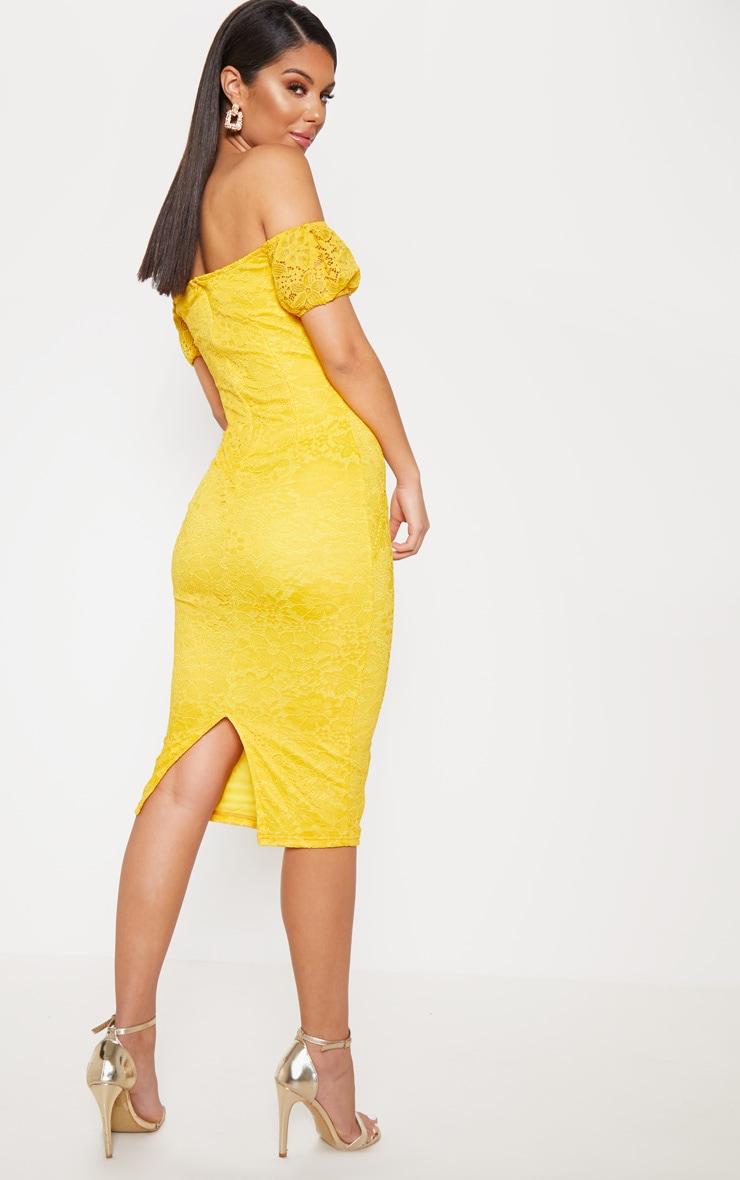 Mustard Lace Bardot Wrap Midi Dress 2