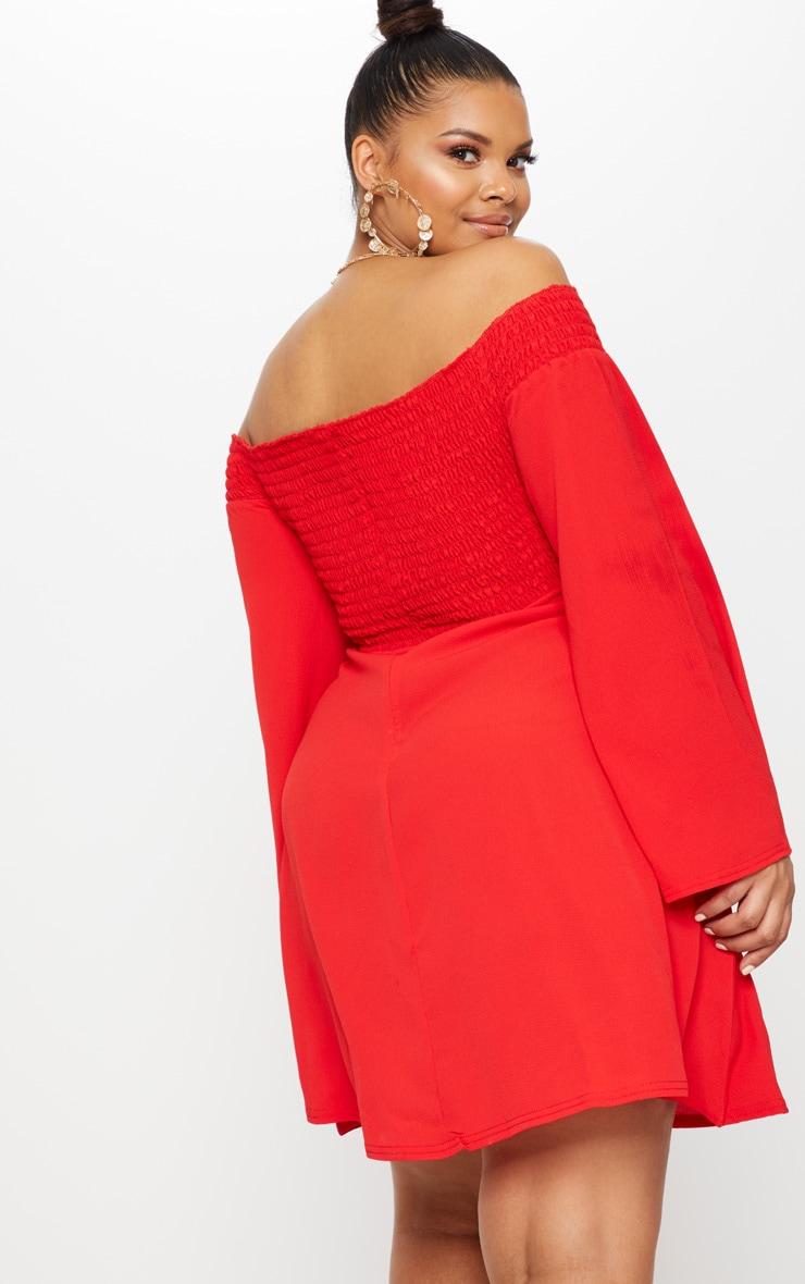 Plus Red Shirred Bardot Swing Dress 2