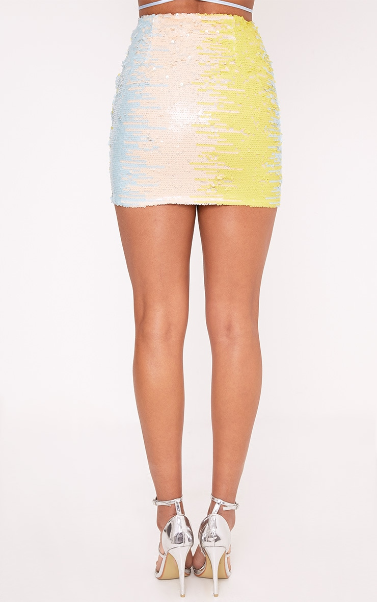 Haider Baby Blue Sequin Mini Skirt  4