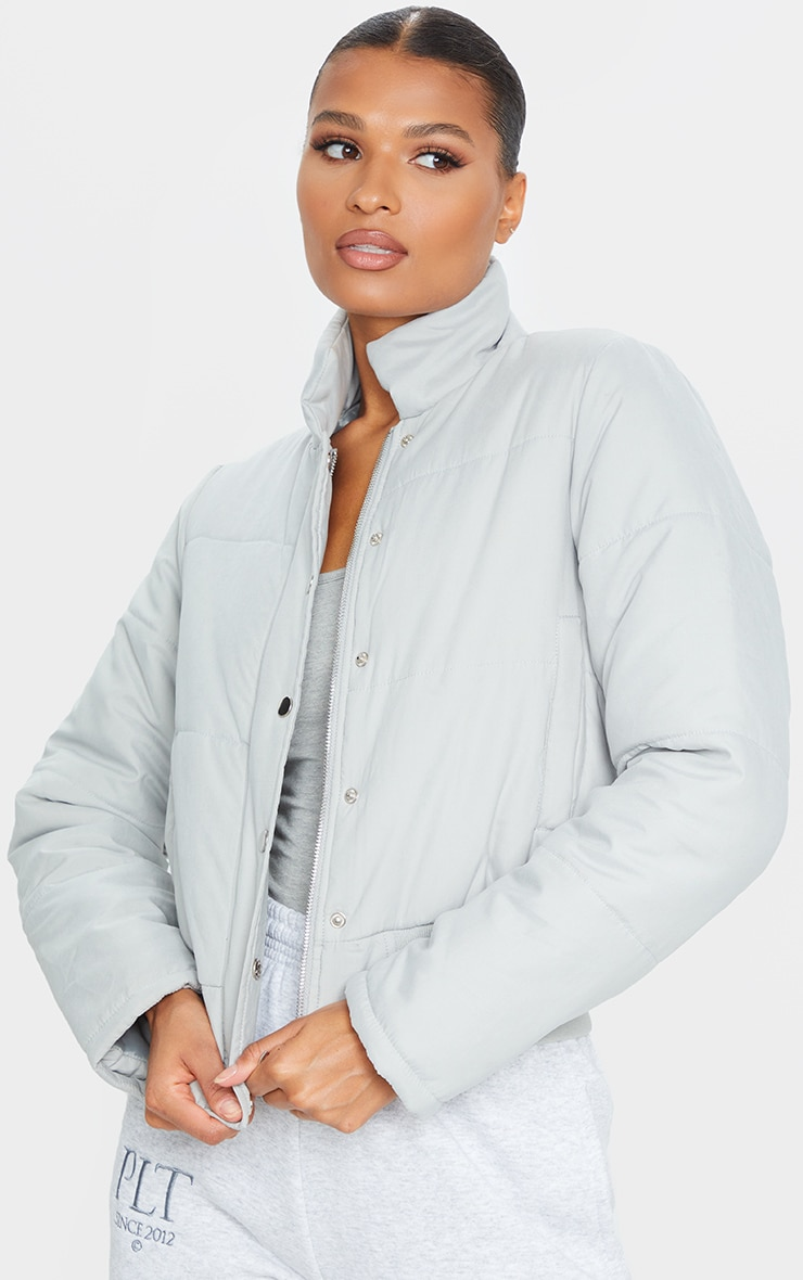 Grey Peach Skin Cropped Puffer Jacket 3