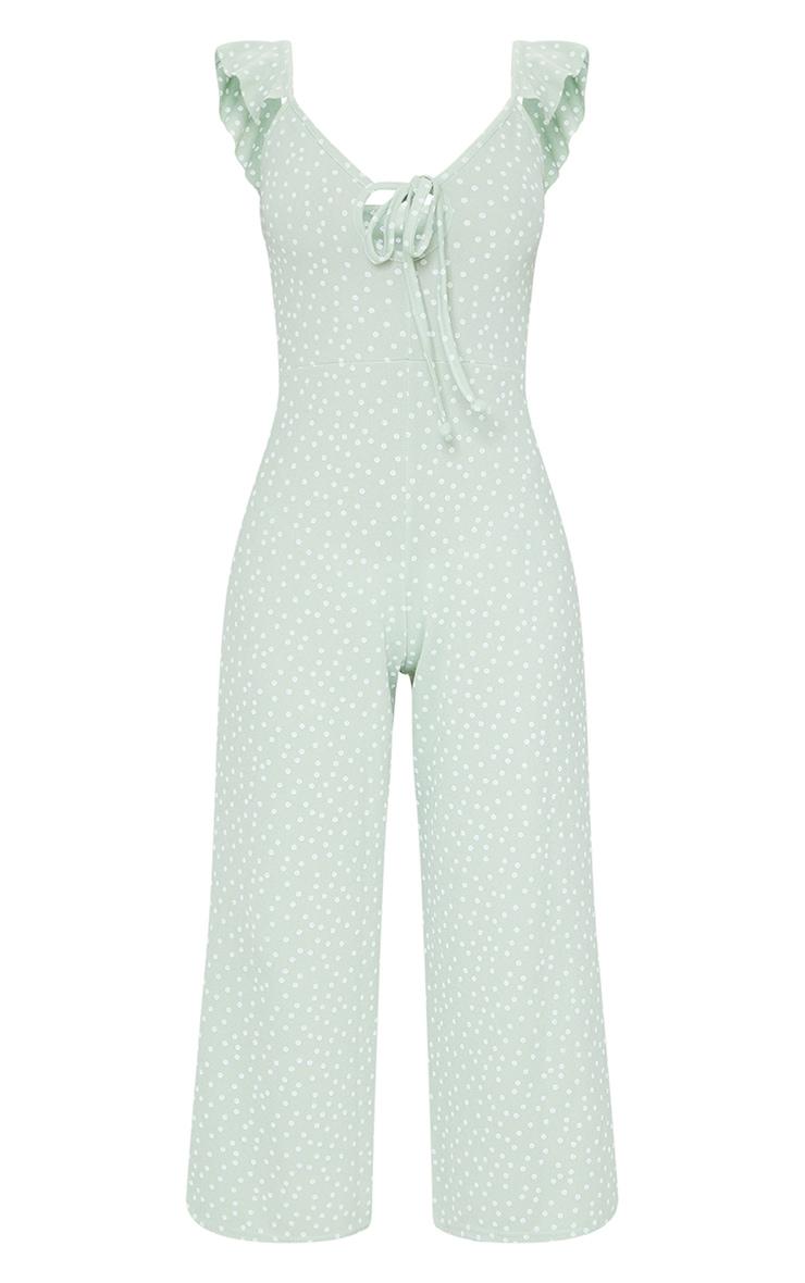Sage Green Polka Dot Frill Shoulder Culotte Jumpsuit 5