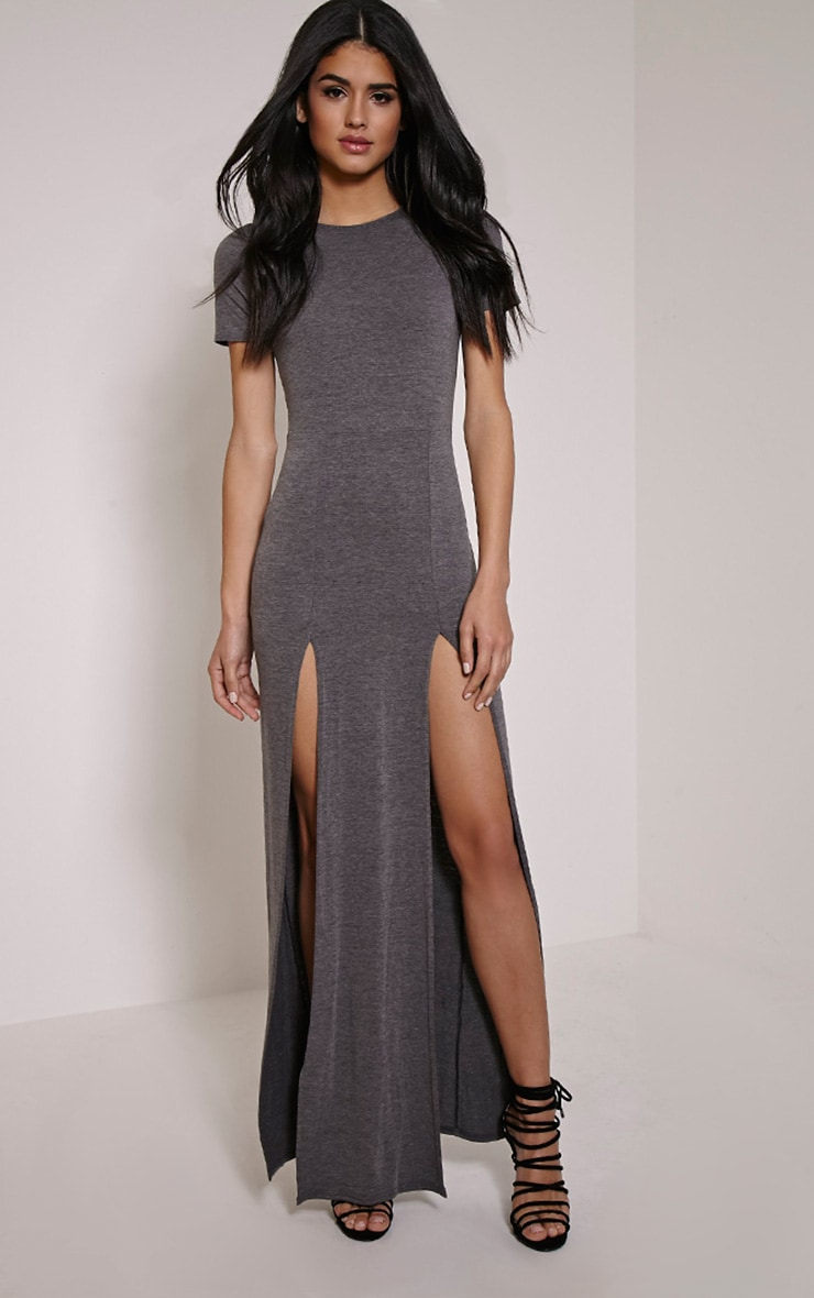 Basic Charcoal Split Front Maxi T Shirt Dress 1