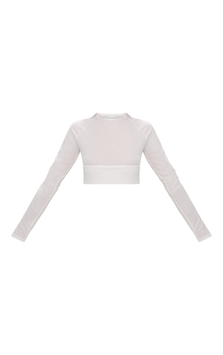 White Long Sleeve Rib Cut Out Side Crop Top  3