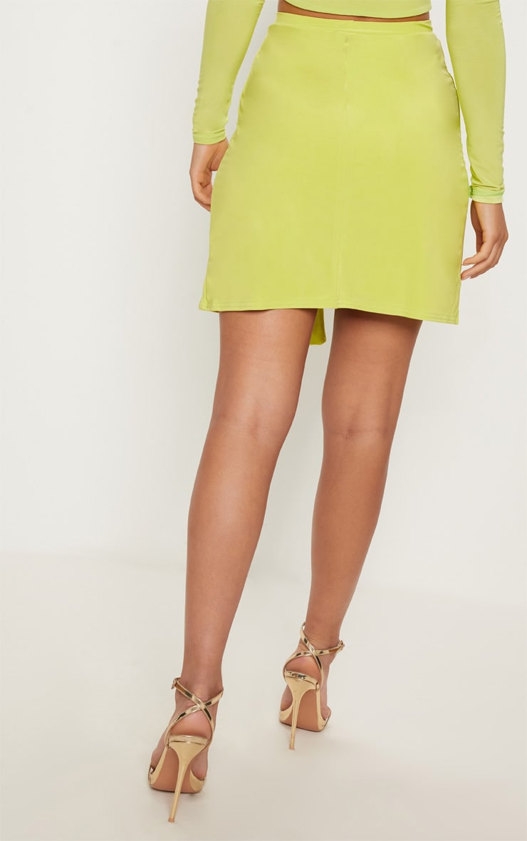 Lime Slinky Tie Waist Wrap Skirt 4