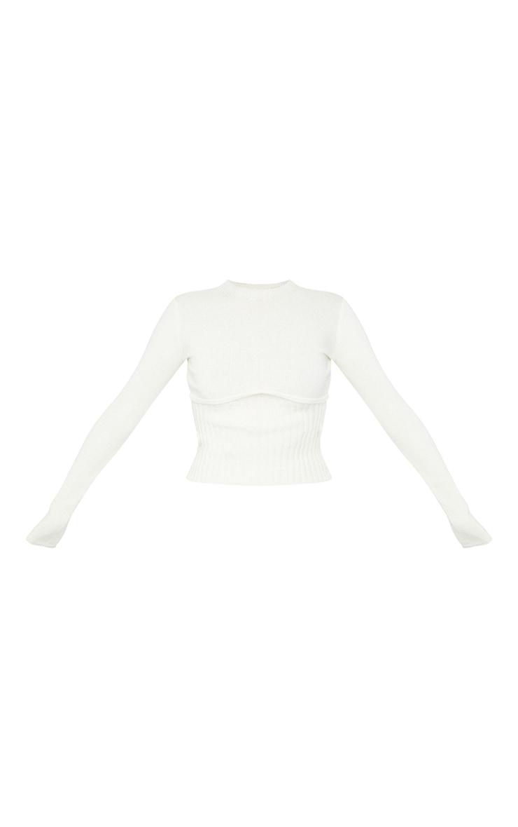 Cream Ribbed Underbust Long Sleeve Sweater 5