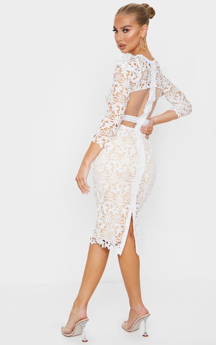White Lace Open Back Long Sleeve Midi Dress 2