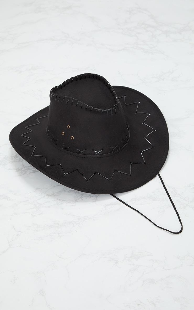 Black Lace Up Detail Cowboy Hat 3