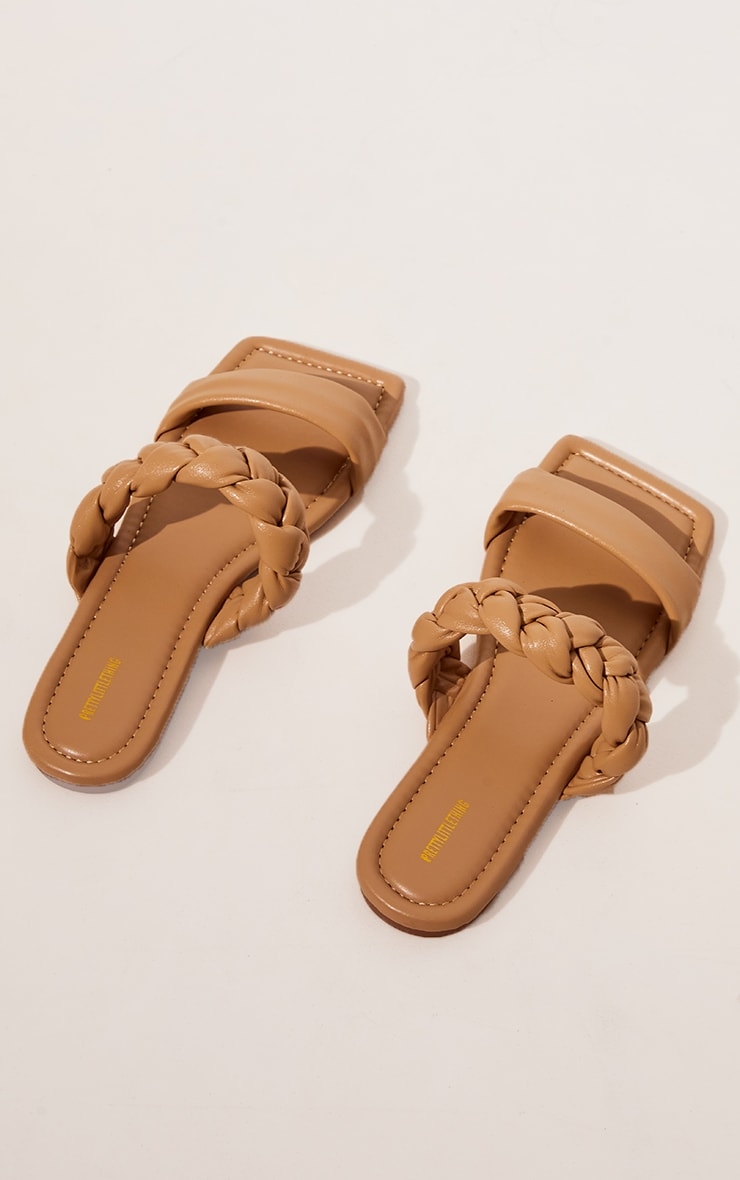 Sand PU Double Strap Plaited Mule Sandals 3