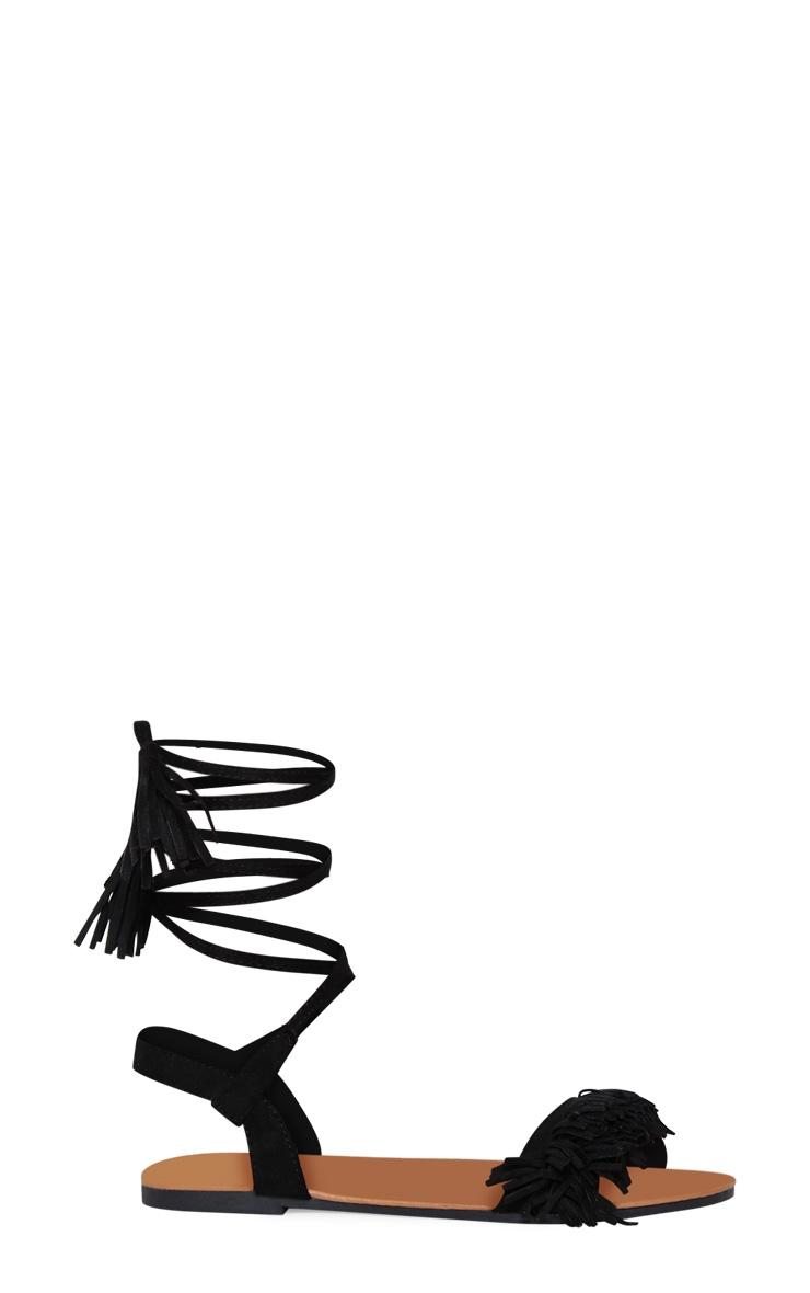 Black Tassel Fringe Ghillie Sandal 3