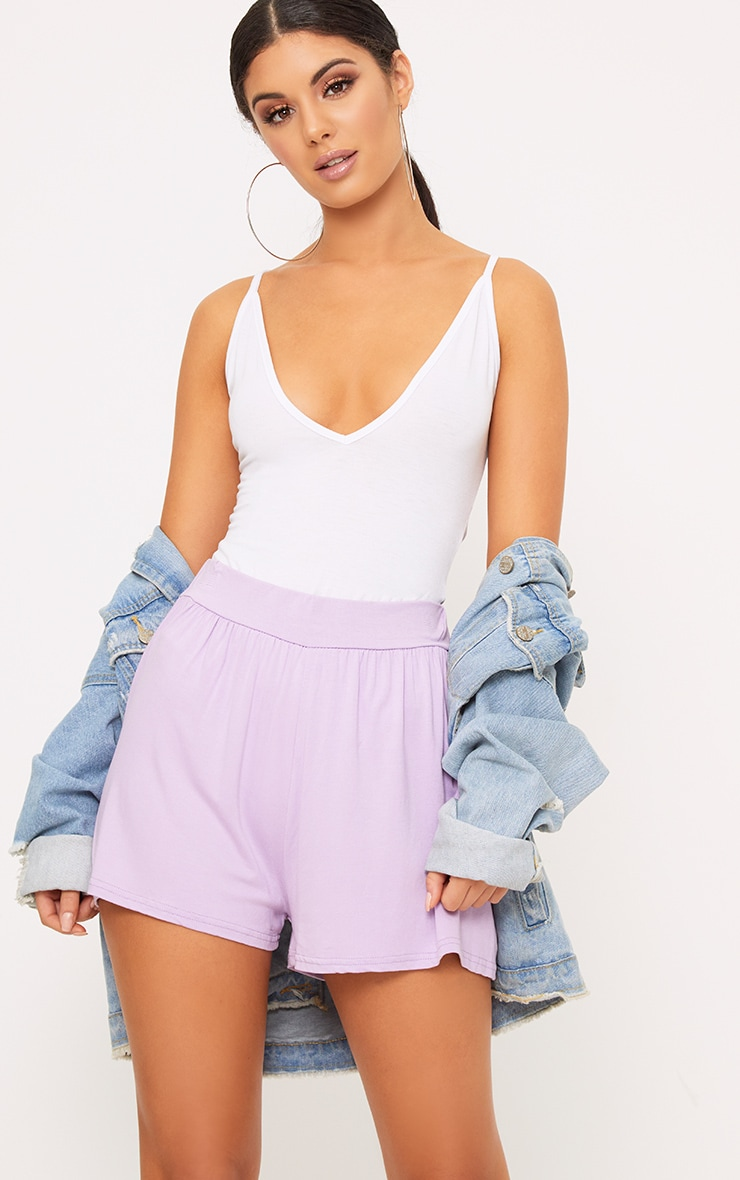 Lilac Jersey Floaty Shorts 1