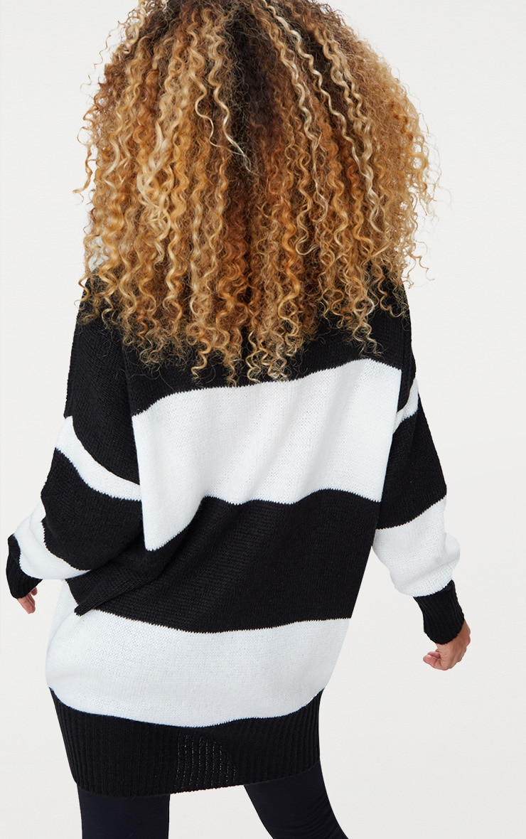 Black Stripe Oversized Knitted Jumper 2