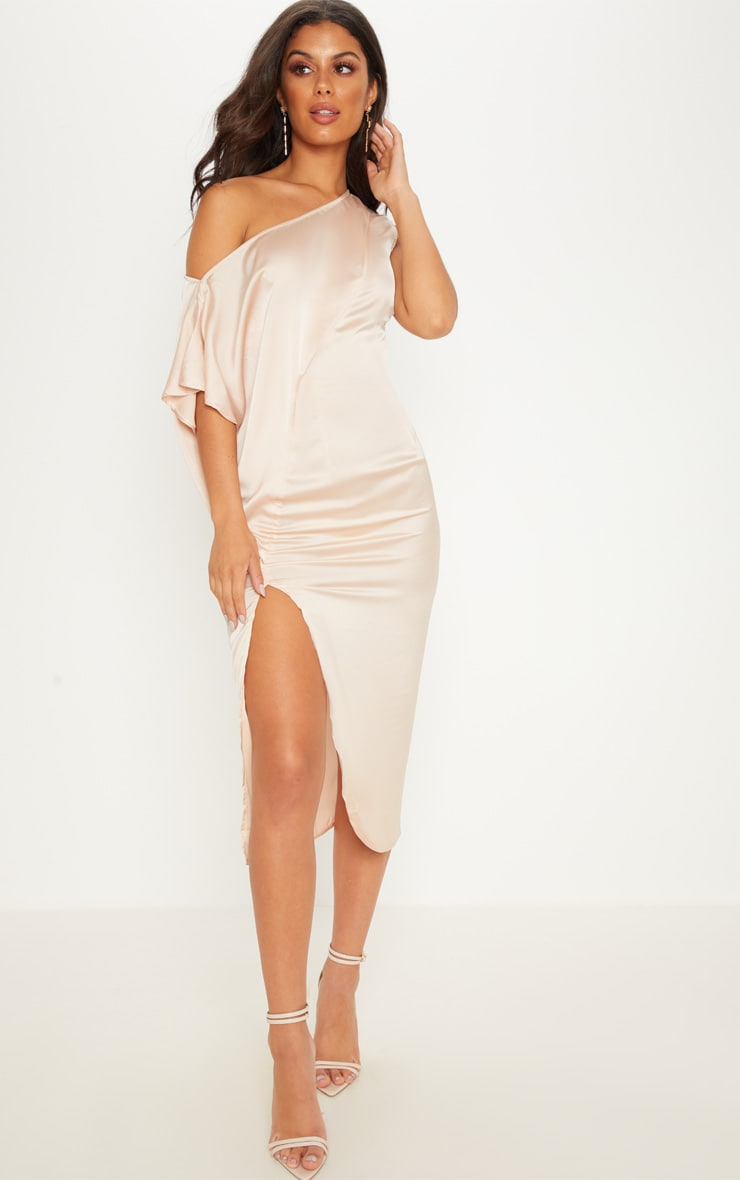 9fdfb0ec47 champagne-satin-one-shoulder-cape-sleeve-midi-dress by