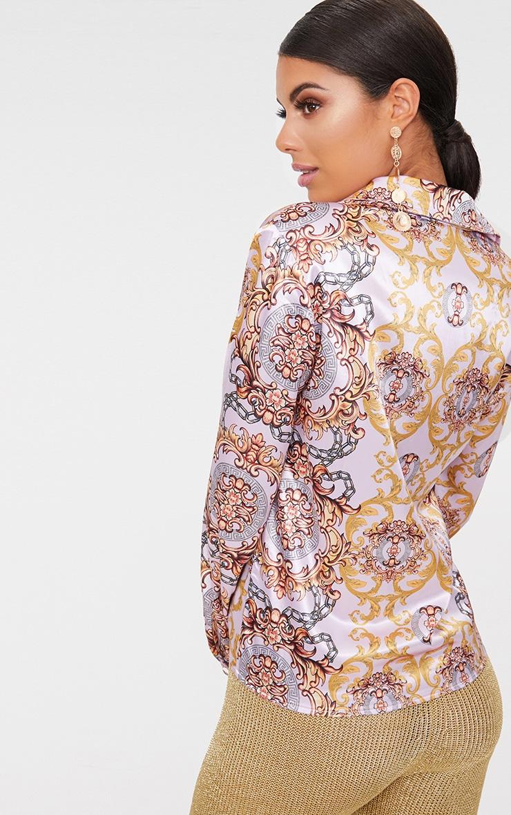 Pink Scarf Print Wrap Blouse  2