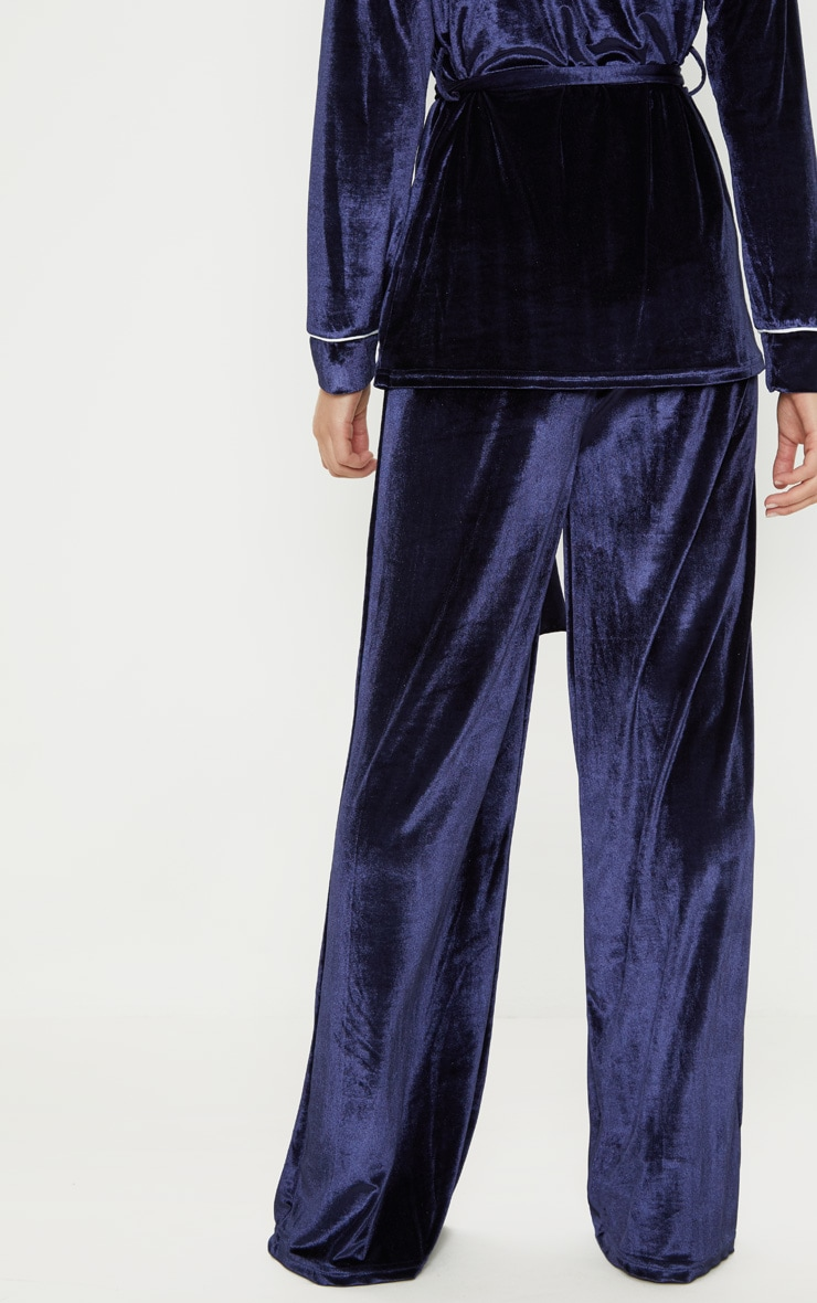 Navy Velvet High Waisted Wide Leg Pants 4