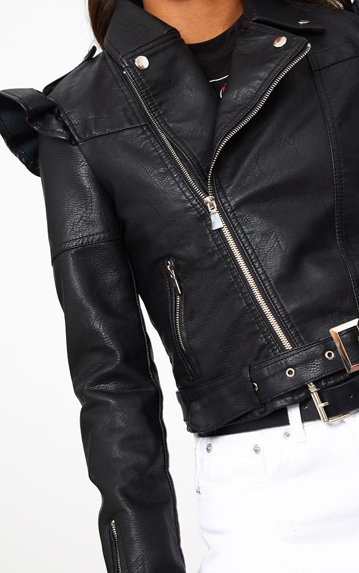 Black Frill Shoulder PU Biker Jacket 5