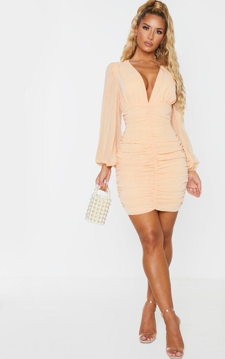 Nude Chiffon Ruched Long Sleeve Bodycon Dress 4