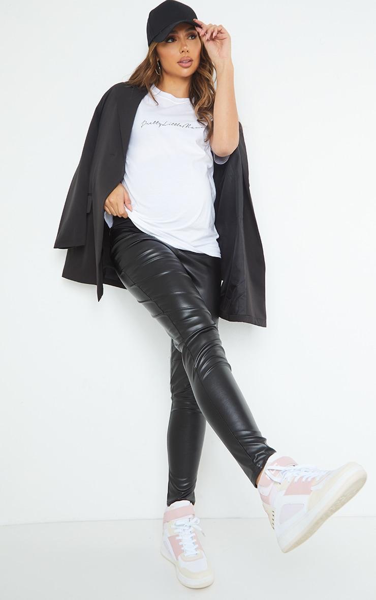 Maternity Black Faux Leather Over Bump Leggings 1