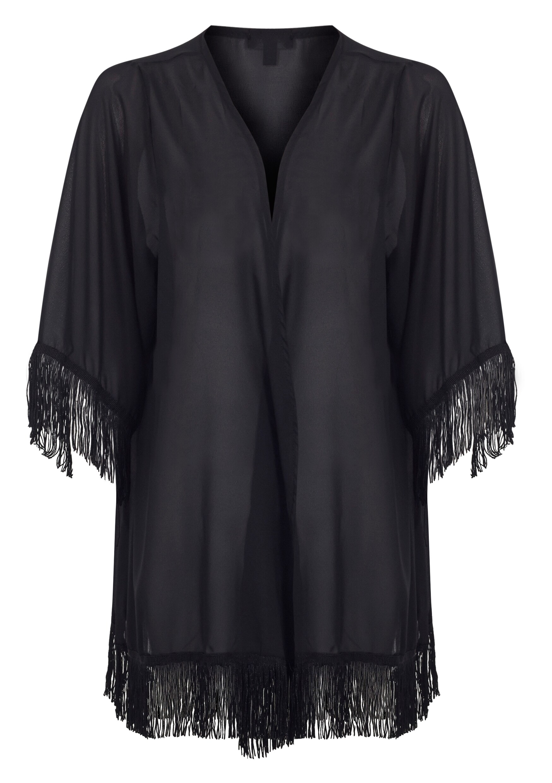 Tiffany Black Fringe Kimono 5