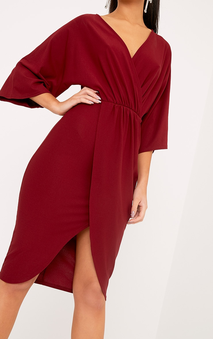 Archer robe midi cape bordeaux 5