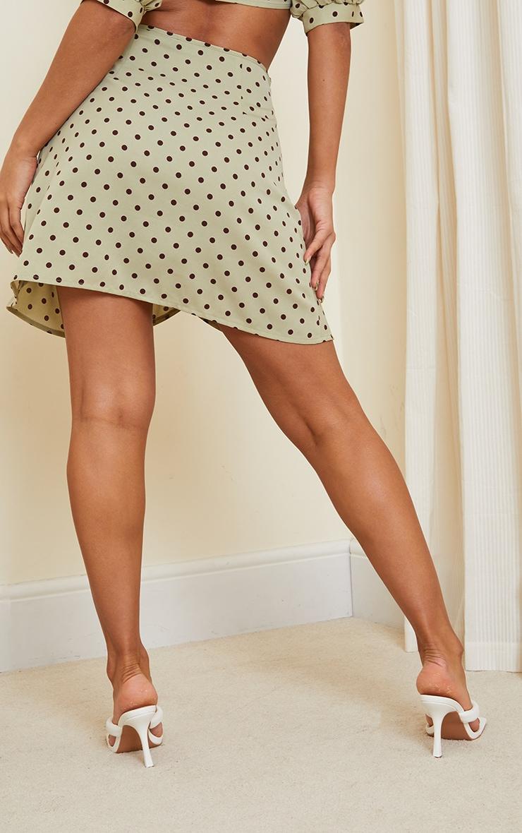 Sage Green Polka Print Wrap Detail Mini Skirt 3