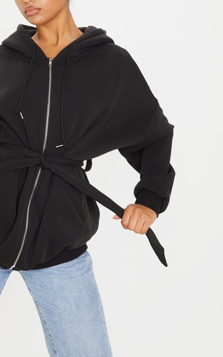 Black Oversized Belted Sweat Hoodie 5