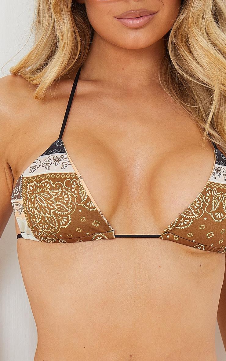 Brown Bandana Triangle Bikini Top 4