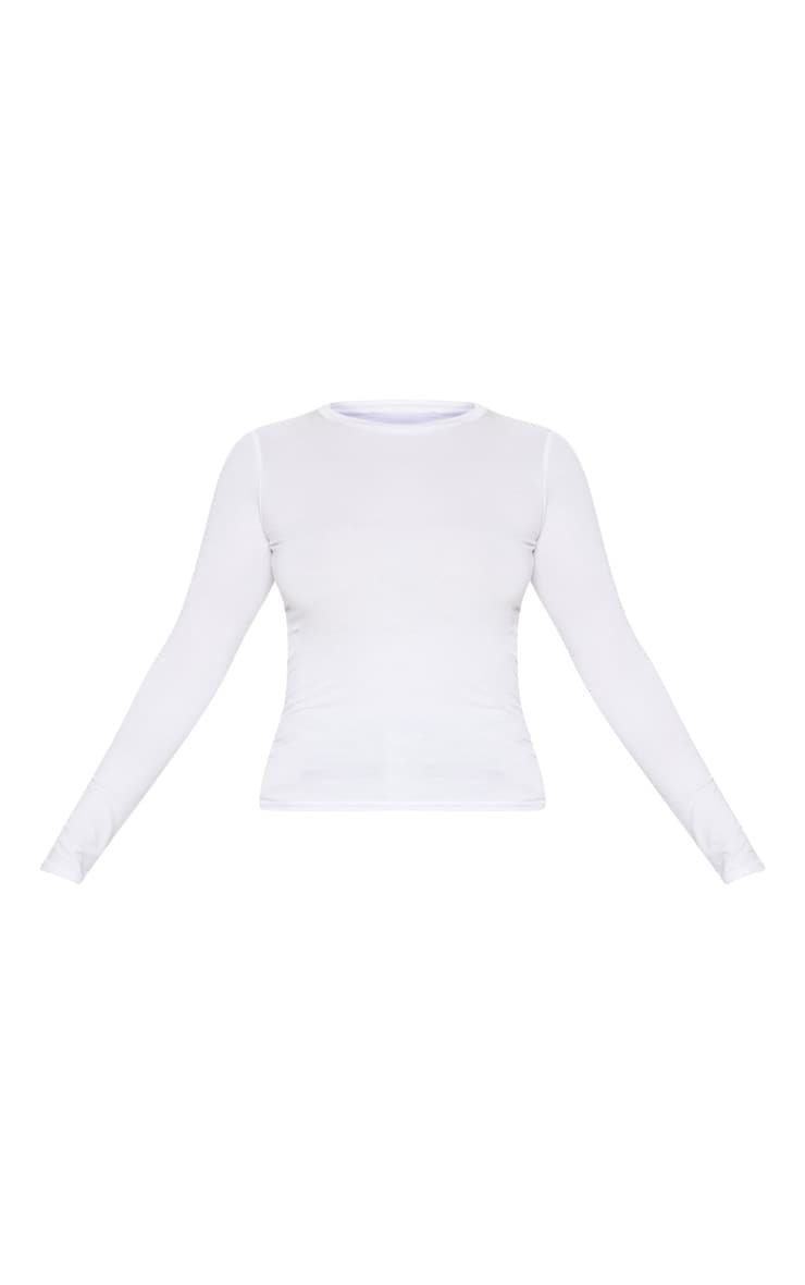 Basic White Long Sleeve Fitted T Shirt 4