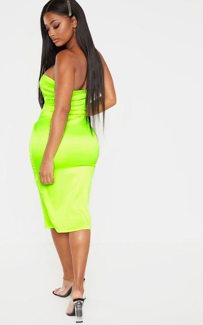 Shape Neon Lime Stretch Satin Bandeau Midi Dress