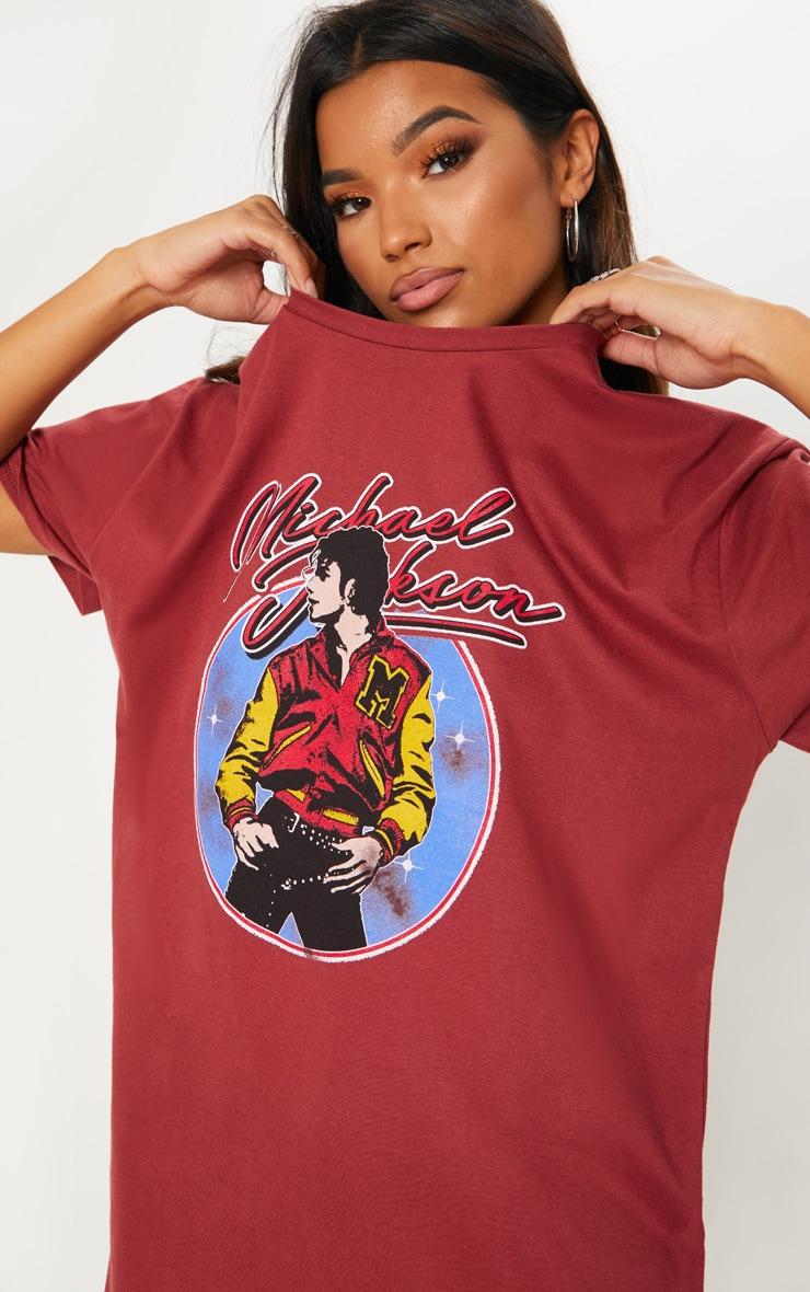 3c3f538205 Michael Jackson Slogan Dark Red Washed Oversized T Shirt Dress