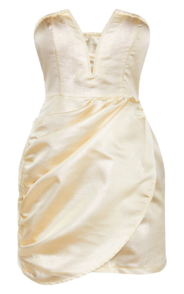 Champagne Textured Glitter V Bar Bandeau Ruched Bodycon Dress 3