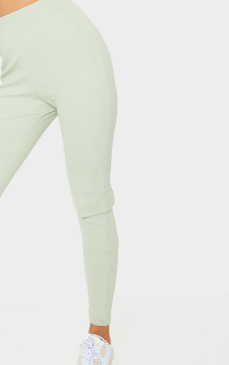 Sage Green Ribbed High Waist Pocket Detail Leggings 4