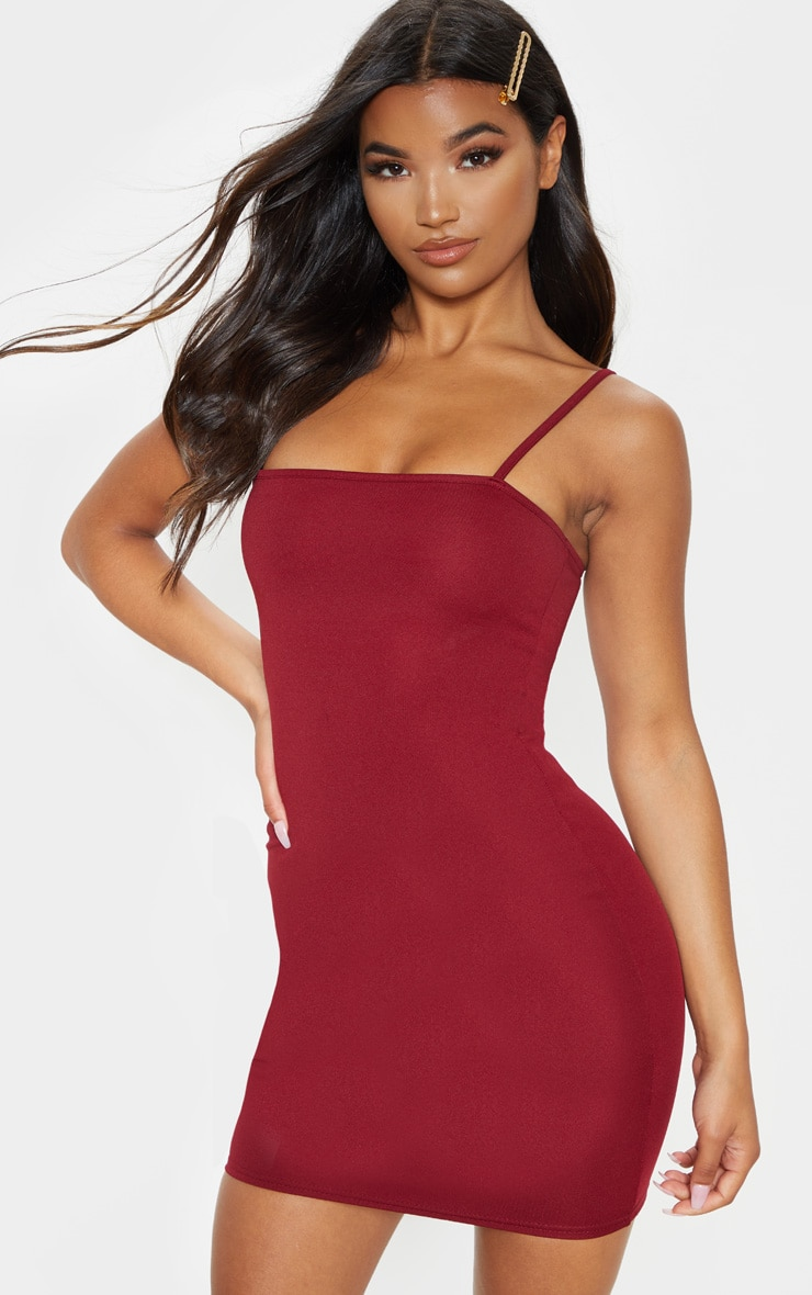Burgundy Straight Neck Bodycon Dress 1