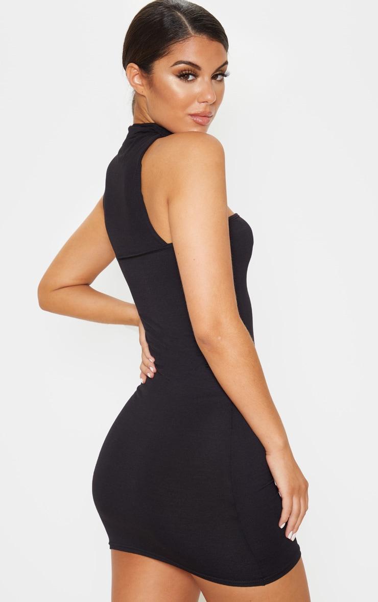 Black High Neck Cut Out Sleeveless Bodycon Dress 2