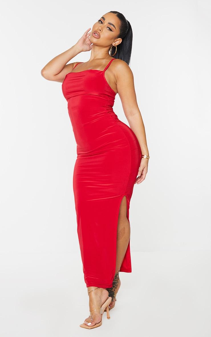 Shape Red Slinky Cowl Neck Midaxi Dress 3