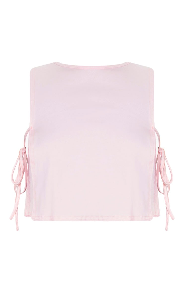 Pink Cotton Tie Side Vest Top 3