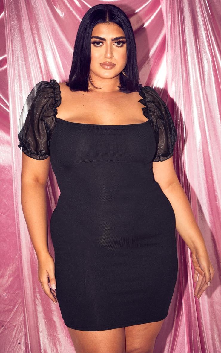 Plus Black Organza Sleeve Rib Bodycon Dress  1
