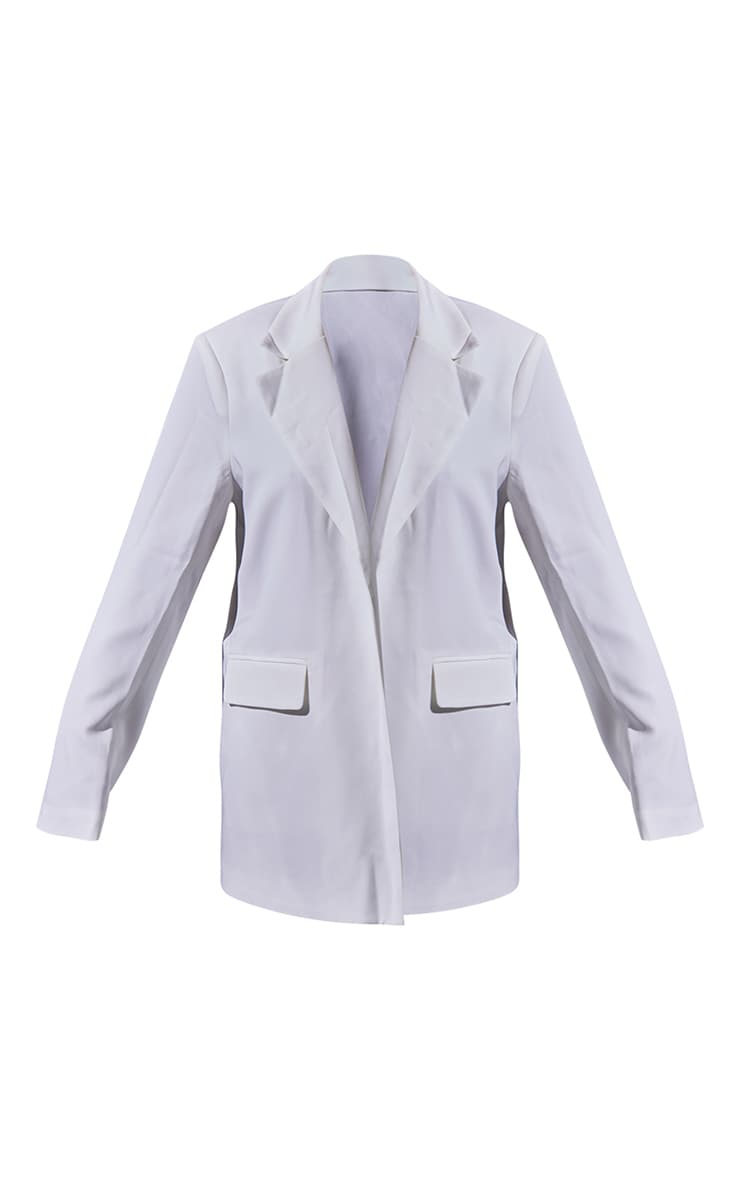 White Woven Oversized Shoulder Pad Pocket Front Blazer 5
