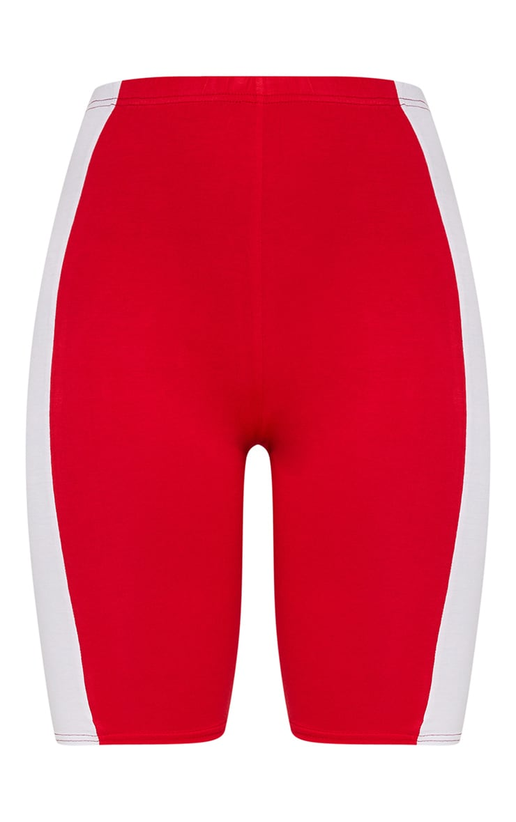 Red Contrast Panel Bike Shorts 3