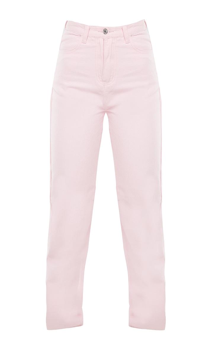 Pink High Waist Straight Leg Jeans 5