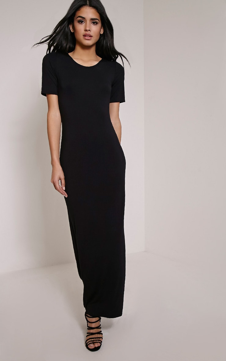 Basic Black Round Neck Maxi Dress 1