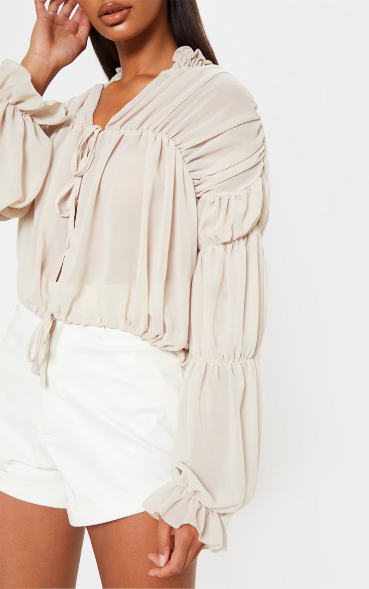 Beige Sheer Ruched Tiered Blouse 5
