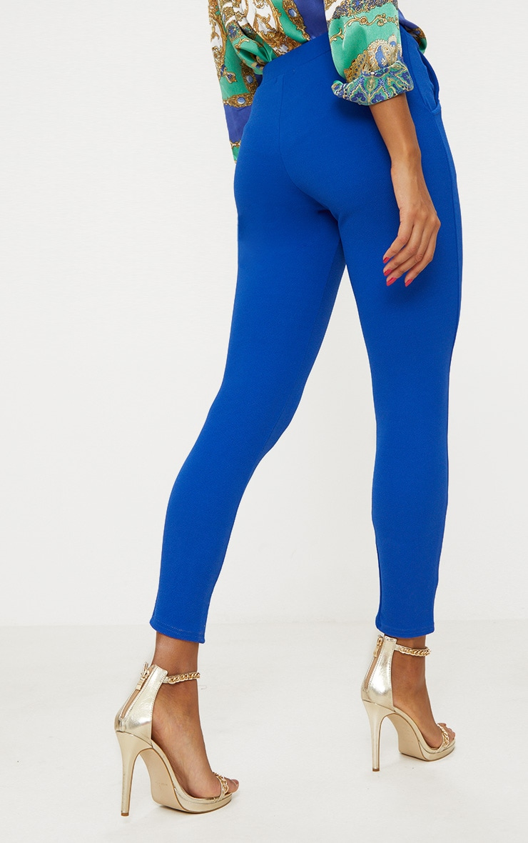 Blue Crepe Skinny Trousers 4