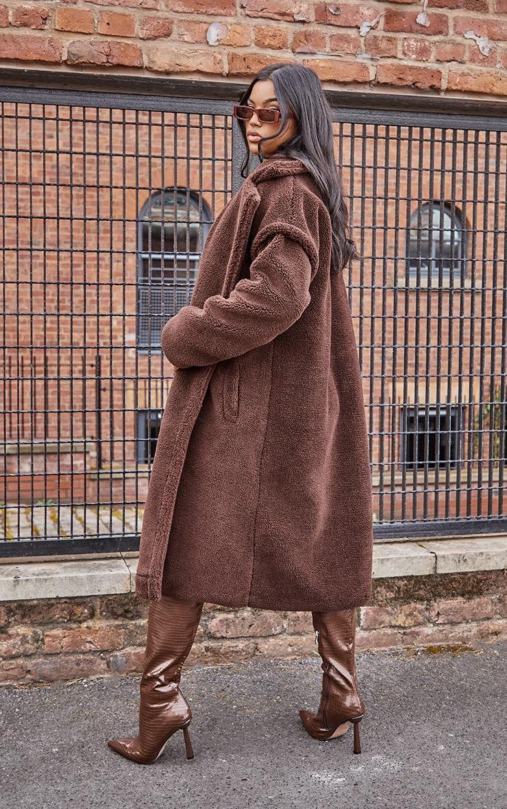 Chocolate Premium Teddy Bear Borg Coat 2