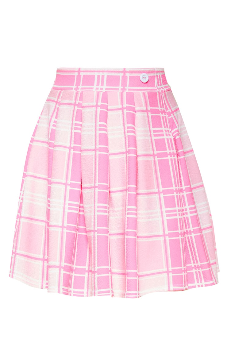 Pastel Pink Check Print Pleated Side Split Tennis Skirt  7