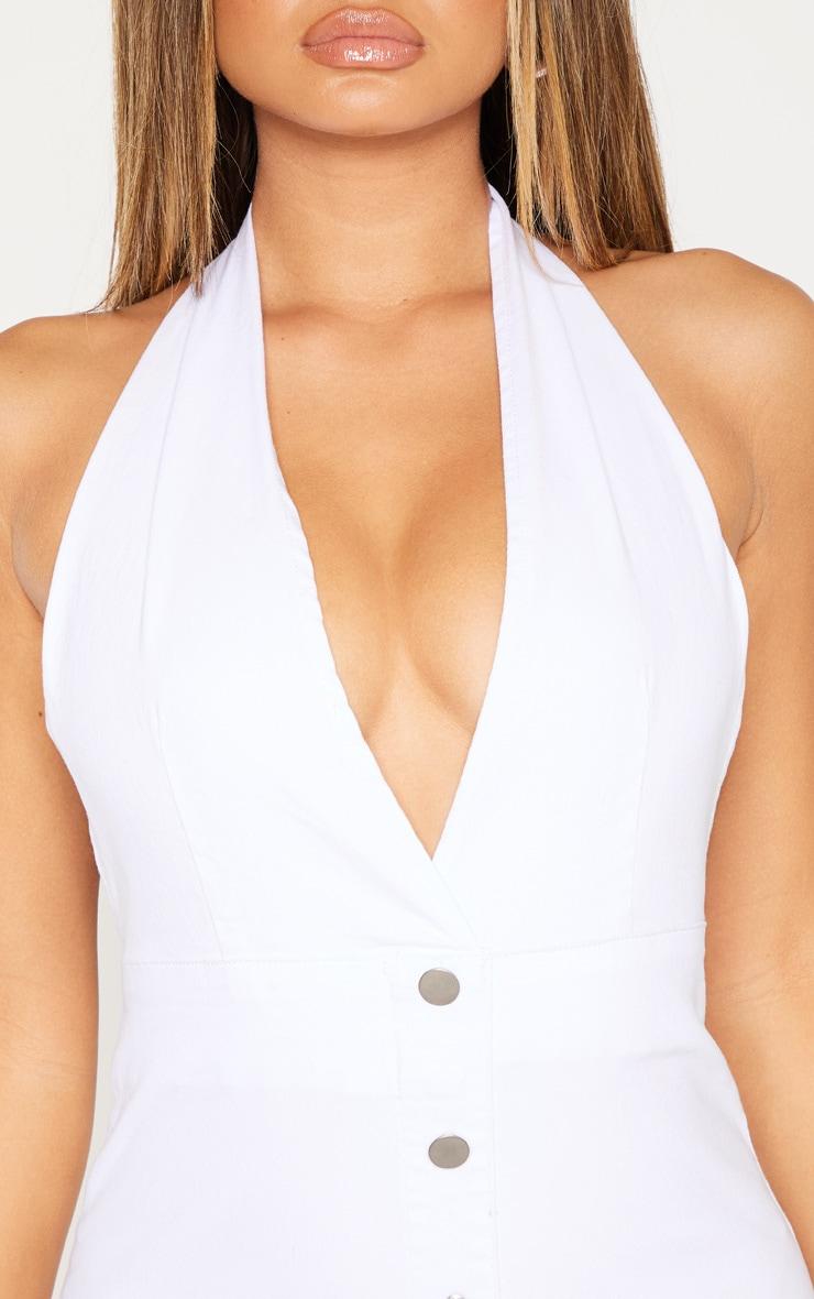 White Halterneck Button Denim Dress 5