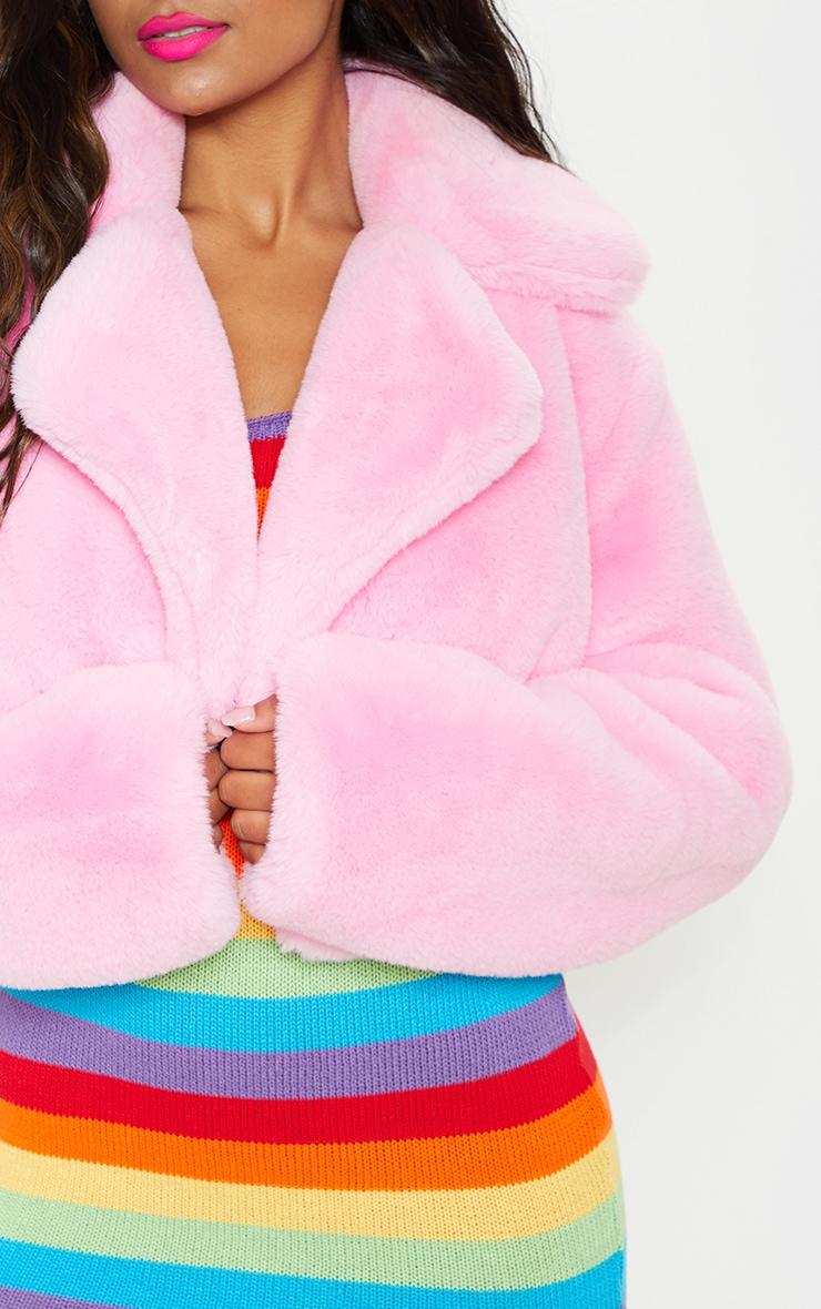 Pink Faux Fur Cropped Jacket  5