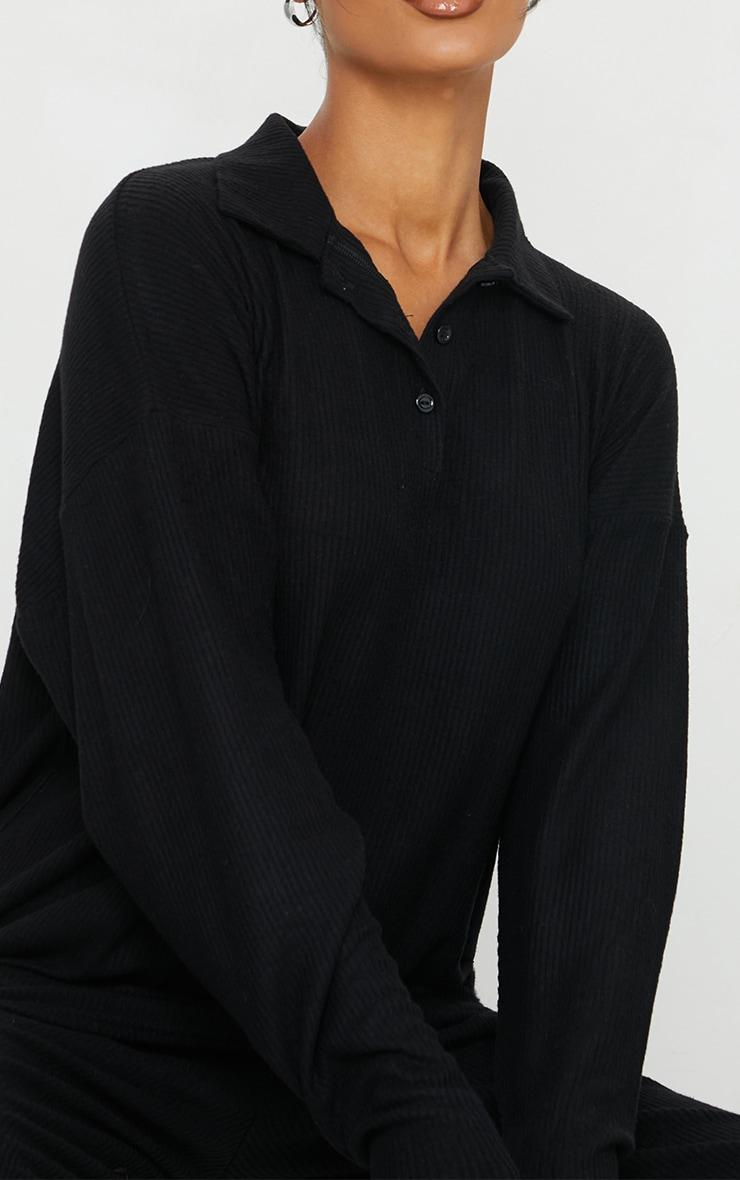 Black Brushed Rib Oversized Longline Polo Top 4